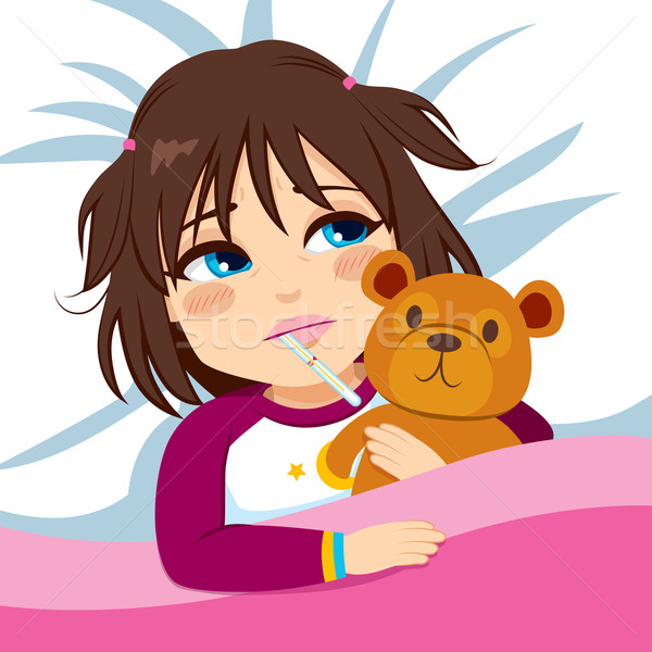 Stock photo: Little Girl Ill In Bed