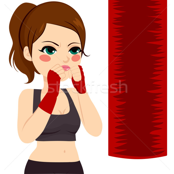 Kickboxing donna sport rosso bag Foto d'archivio © Kakigori