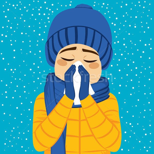 человека зима грипп сморкании молодым человеком бумаги Сток-фото © Kakigori
