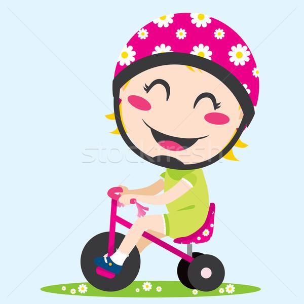 Stok fotoğraf: Kız · üç · tekerlekli · bisiklet · tatlı · küçük · kız · sürücü · kask