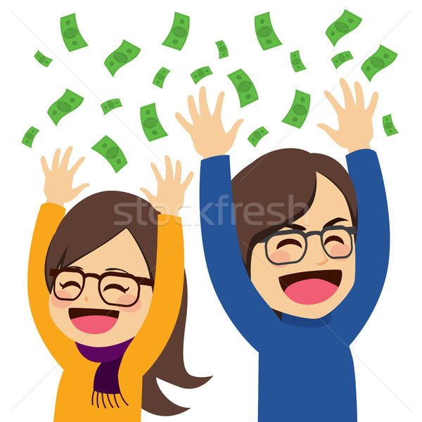 Boldog pénz pár aranyos fiatal vagyonos Stock fotó © Kakigori