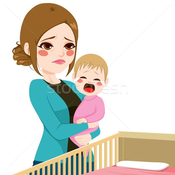 álmos anya baba sír fiatal fáradt Stock fotó © Kakigori