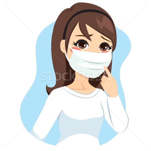 Vrouw medische masker jonge vrouw gezicht Stockfoto © Kakigori