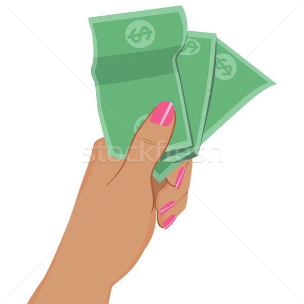 Female Hand Holding Dollar Banknotes Stock photo © Kakigori