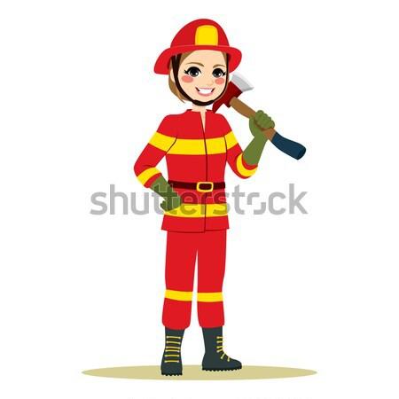 женщины пожарный топор счастливым красный Сток-фото © Kakigori