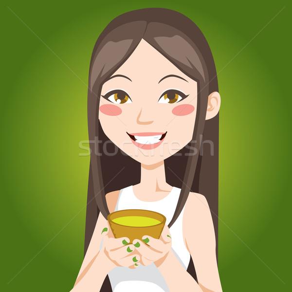 Кубок зеленый чай портрет довольно азиатских женщину Сток-фото © Kakigori