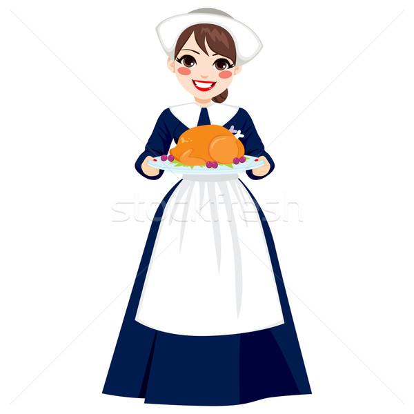 Thanksgiving Pilgrim Woman With Turkey Stock photo © Kakigori