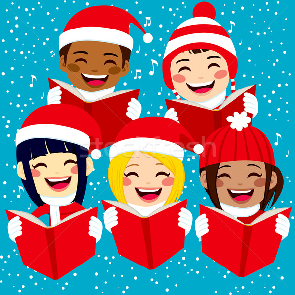 Happy Children Singing Christmas Carols Stock photo © Kakigori