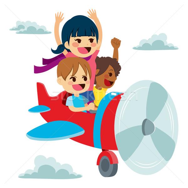 Children Imagination Plane Fun Stock photo © Kakigori