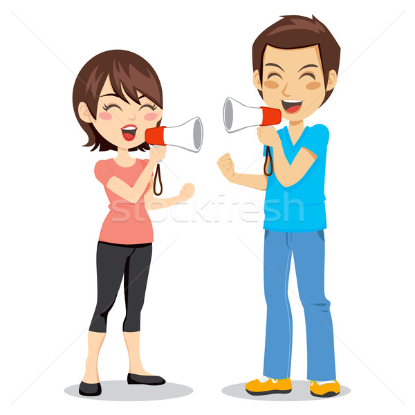 Stock photo: Megaphone Couple