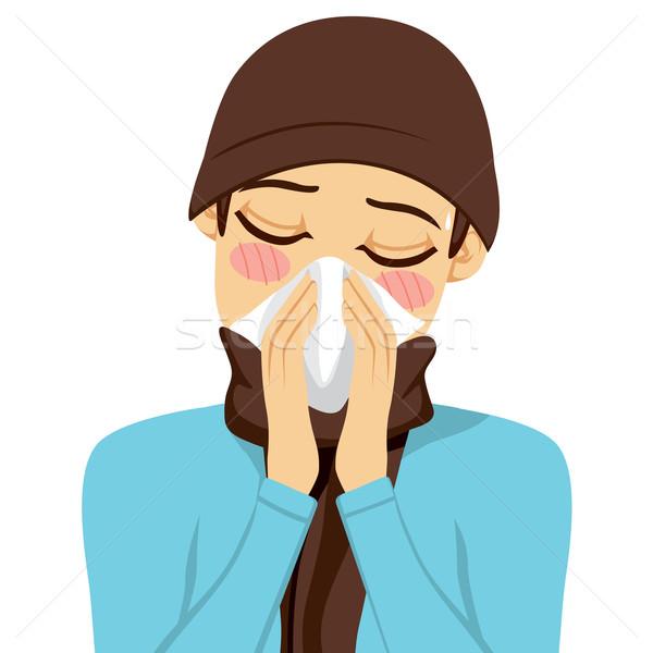 Homem assoar o nariz moço branco lenço médico Foto stock © Kakigori