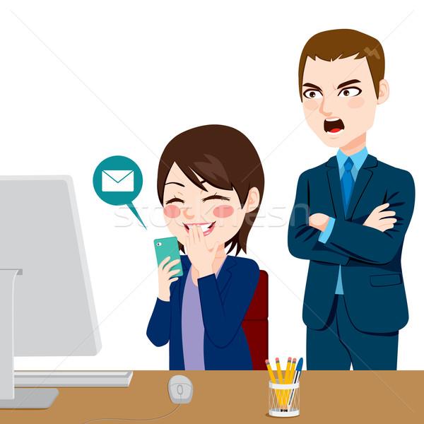 Patrão distraído empregado zangado mulher Foto stock © Kakigori