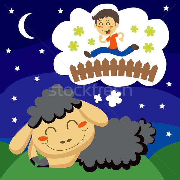 Black Sheep counting Children Stock photo © Kakigori