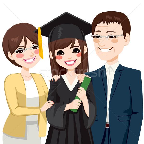 Asian rodziców dumny córka stałego szczęśliwy Zdjęcia stock © Kakigori