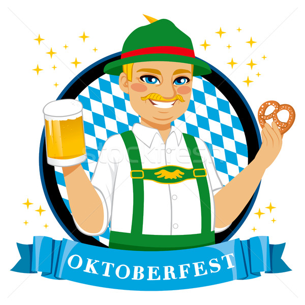 Oktoberfest Pretzel Beer Man Stock photo © Kakigori