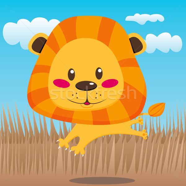Feliz leão bonitinho sorridente alegremente saltando Foto stock © Kakigori