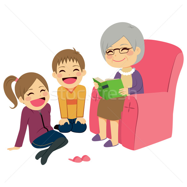 Grandmother Reading Story Stock photo © Kakigori