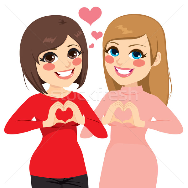 En İyi arkadaşlar kalp iki kızlar gülen Stok fotoğraf © Kakigori