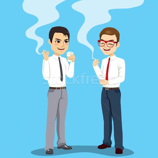 Imprenditori fumare sigaretta due pausa caffè tempo Foto d'archivio © Kakigori