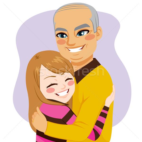 Girl hugging Grandfather Stock photo © Kakigori