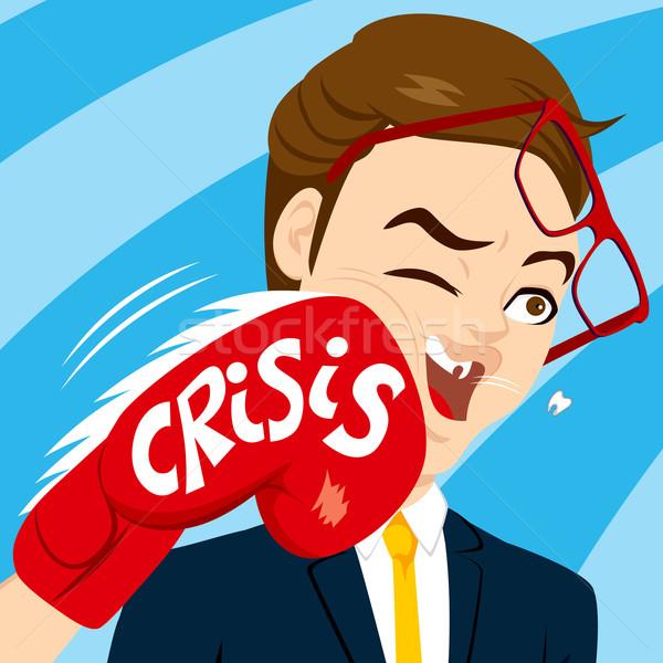 кризис бизнесмен насильственный боксерская перчатка человека красный Сток-фото © Kakigori