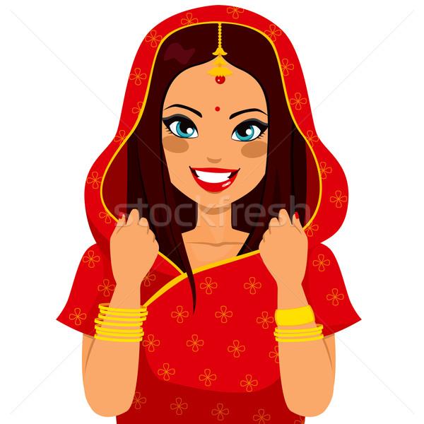 Hagyományos indiai nő gyönyörű barna hajú nő mosolyog Stock fotó © Kakigori