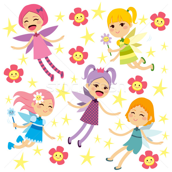 Cute Fairies Flying Collection Stock photo © Kakigori