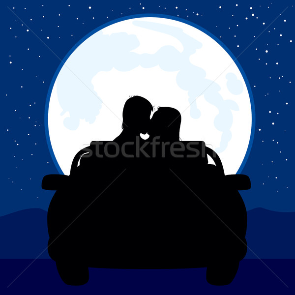 Pleine lune baiser illustration silhouette couple voiture Photo stock © Kakigori