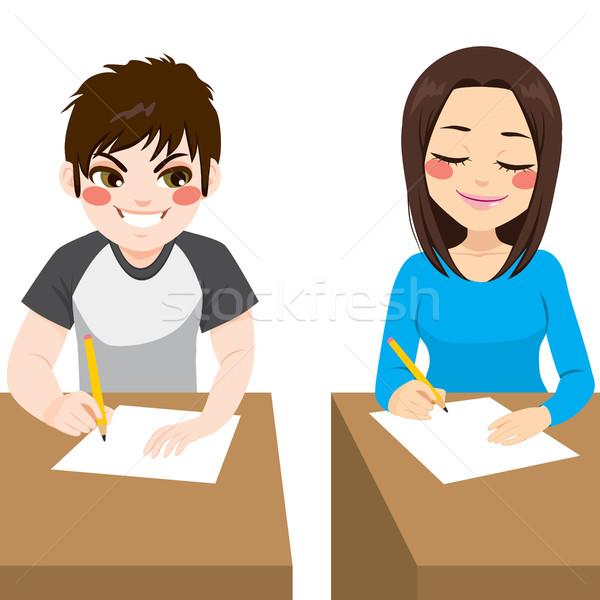 подростку экзамен два молодые люди мальчика Сток-фото © Kakigori
