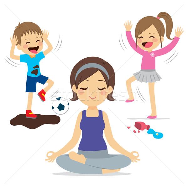Rumoroso bambini madre yoga giocare rilassante Foto d'archivio © Kakigori