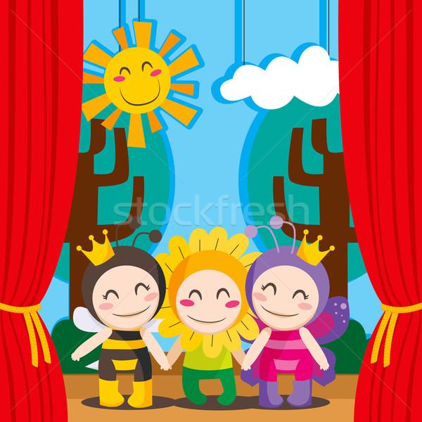 Aranyos színház három gyerekek jelmezek előad Stock fotó © Kakigori
