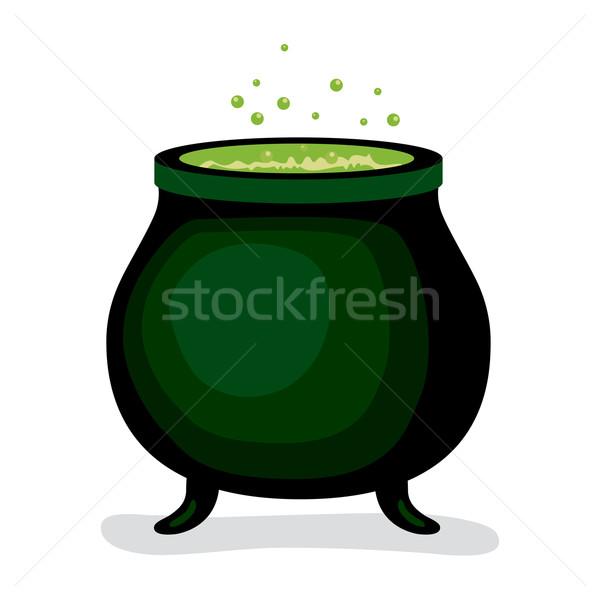 Sötét boszorkány mágikus üst zöld főzet Stock fotó © Kakigori