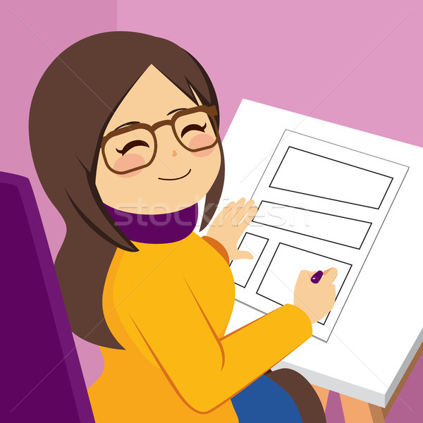 Woman Drawing Comic Stock photo © Kakigori