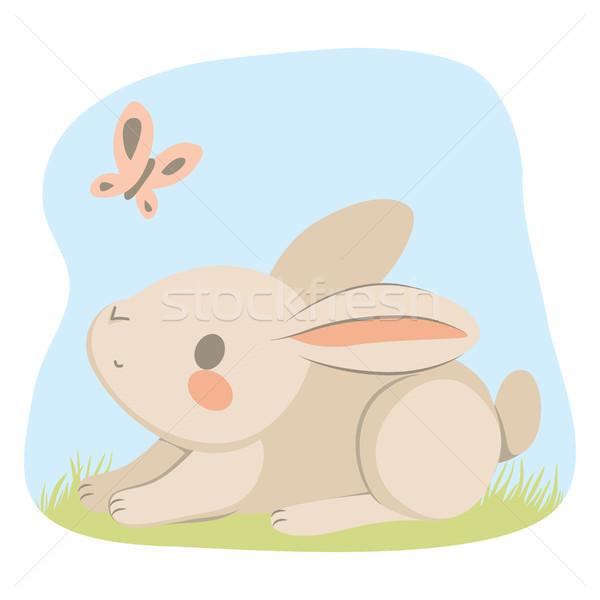 Сток-фото: весны · Bunny · бабочка · счастливым · Cute · мало