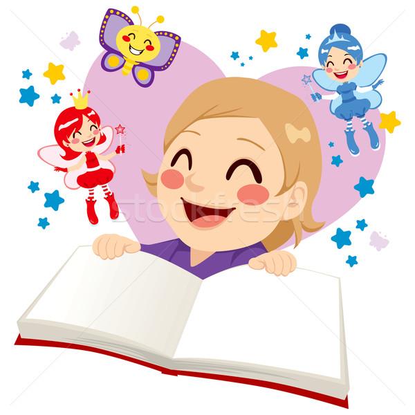 Cute девушки чтение сказка девочку Сток-фото © Kakigori