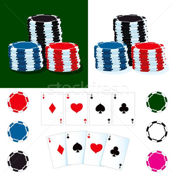 фишки для покера карт различный цвета фишки казино покер Сток-фото © Kakigori