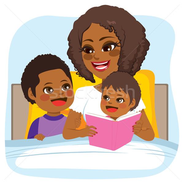 おとぎ話 読む 小さな アフリカ系アメリカ人 母親 ベッド ストックフォト © Kakigori