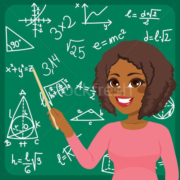 Vrouw onderwijs wiskunde mooie jonge afro-amerikaanse Stockfoto © Kakigori