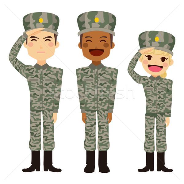Wojskowych ludzi grupy żołnierz człowiek kobieta Zdjęcia stock © Kakigori