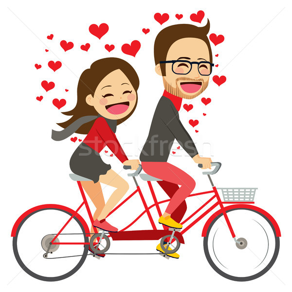 Валентин верховая езда велосипед пару Cute Сток-фото © Kakigori