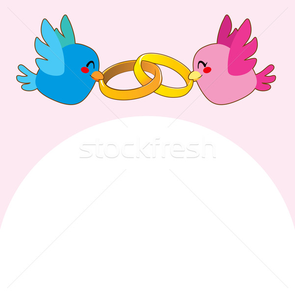 Rosa pássaro compromisso anéis azul aves Foto stock © Kakigori