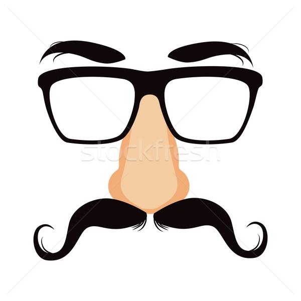 Komik bıyık gizlemek maske gözlük büyük Stok fotoğraf © Kakigori