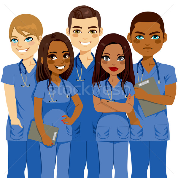 多樣 護士 團隊 年輕 男 女 商業照片 © Kakigori