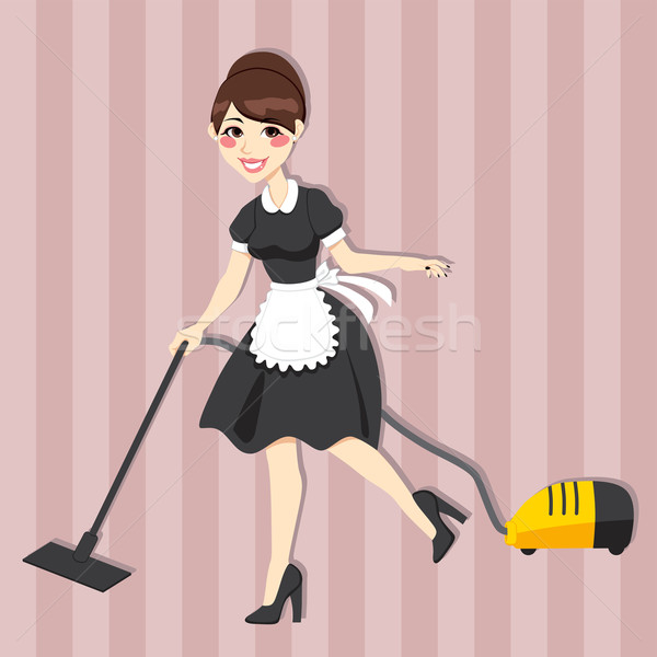 Gospodyni domowa pokojówka vintage sukienka czyszczenia odkurzacz Zdjęcia stock © Kakigori