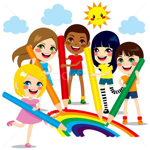 Children Drawing Rainbow Stock photo © Kakigori