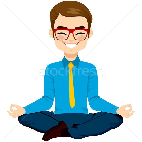 Jóga üzletember megnyugtató fiatal jóga póz boldog Stock fotó © Kakigori
