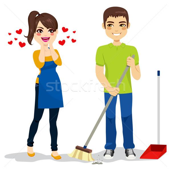 Woman Loves Boyfriend Cleaning Stock photo © Kakigori