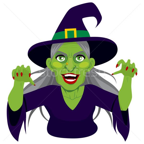 Velho lol assustador bruxa verde pele Foto stock © Kakigori