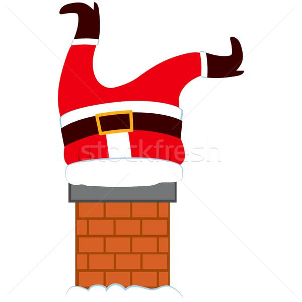 Tłuszczu Święty mikołaj nogi komin ilustracja Święty mikołaj Zdjęcia stock © Kakigori