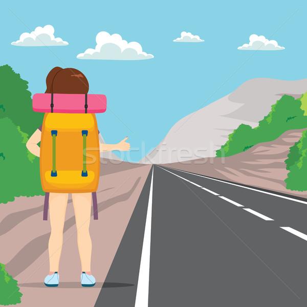 Hitchhiking Back Woman Stock photo © Kakigori